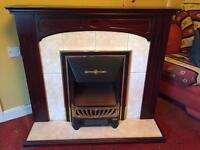 Mahogany Fireplace, Electric Fire insert with matching mirror