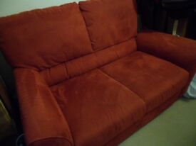 ikea dark red two seater sofa suedette material good condition