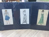 Original Vintage Fashion Drawings from 1950s