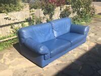 Roche Bobois Blue 3 Seater Designer Leather Sofa