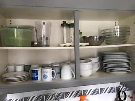 Cutlery, pan, dishes, glasses