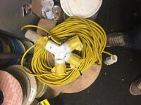 20m 110v cable reel and 3 way splitter