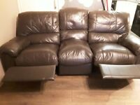 3 seater leather recliner and 2 seater recliner