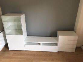 Ikea Besta white gloss TV unit, display cabinet and cupboard