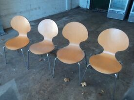 4x wooden chairs with chrome legs suitable for kitchen table or a small dining table