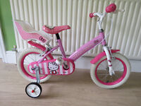 """GREAT LITTLE GIRLS BIKE..""""HELLO KITTY""""..14"""" wheels with stablizers fitted.good condition,ready to ri"""