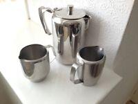 Vintage Stainless Steel Coffee Pot, and 2 Milk Jugs.