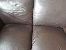 Chocolate brown 2 seat leather sofa