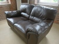 Two brown leather sofas in great condition
