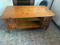 Solid Pine Coffee Table With Drawers And Shelves