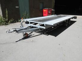 Twin Axle Transporter Trailer. Plant or car transporting. Heavy Duty. Bed 18' x 7'. New wheels.
