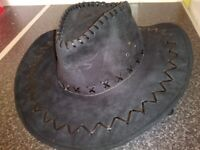 Ladies black suede cowboy styled hat