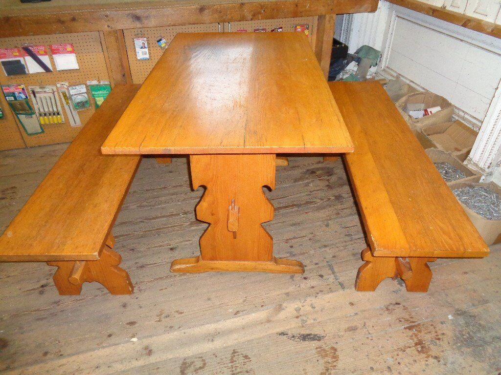 Pine dining table with 2 bench seatsin Hebden Bridge, West YorkshireGumtree - Pine table with 2 bench seats from the 1970s, this is solid pine and great quality, made in Germany. looks the part. NOT FOR INDIVIDUAL SALE, SOLD AS A SET. . cheap set for such good quality. the table top size is in inchs 28 1/4 x 51 1/8. the bench...