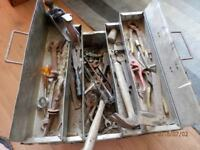 Metal Cantilever Tool Box and Contents