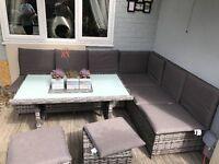 Garden corner sofa and table
