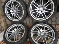 18 inch RS4 Alloy wheels with NEW 7mm Tyres Audi VW Seat 5x112 pcd