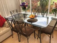Shaped glass dining table & 6 ornate chairs - lovely set!!!
