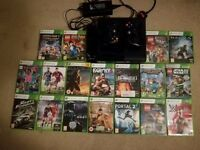 Xbox 360 500Gb + 2 controllers + charging unit + 18 games