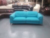 Ex-display Sanza blue plain fabric electric recliner 3 seater sofa