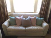 Cream Leather 2-Seater Sofa Bed