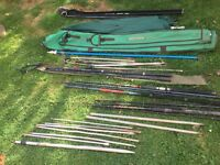 4 fishing rods , net handle/ pole , umbrella , rod rests and net stakes !