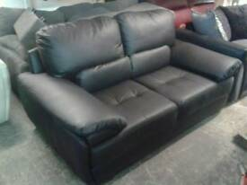 Real leather large 2 seater sofa in black only £ 185