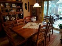 6 person table and chairs with matching large dresser