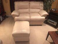 2 Seater Cream Leather Sofa + Footrest