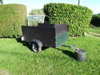 Box Trailer. 150cms long x 90 cms wide. Metal chasis with wooden sides. Good working order.