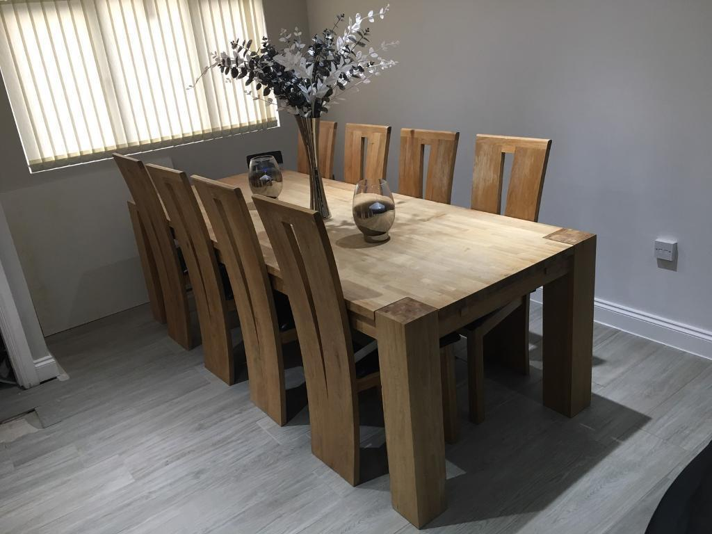 240cm 8 seater solid oak dining table and 8 chairs   in ...