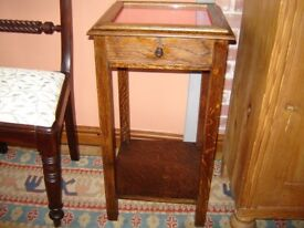 50s 0ak display cabinet / table