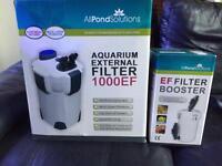Aquarium external filter with box and filter booster