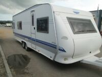 HOBBY PRESTIGE 650 WFU FOUR BERTH TWIN AXLE FIXED BED TOURING CARAVAN BRILLIANT GERMAN BUILT QUALITY