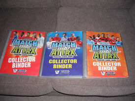 3 Collector Binders with Topps Match Attax Trading Cards 2007/2008 , 2008/2009 and 2009/10