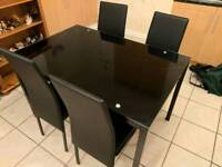 Argos Glass Dining Table & 4 Chairs - Nearly New