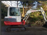 Takeuchi 3 ton mini digger and driver for hire