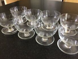 8 antique vintage engraved etched cut glass sundae dessert bowls dishes ~ knob stem & saucer foot