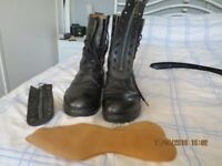 Boots - Black, Military Issue, high-leg, leather, size 9