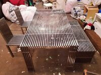 Metal Garden Table (stainless) with 2 matching chairs and bench