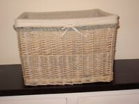 White Washed Wicker Basket with Removable Cloth Liner