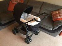 Silver Cross Linear Pram, Sleepover Deluxe & Car Seat, moses basket frame & rain cover