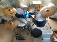 Drum Kit with Zildjian Cymbals, Pearl Double Bass Pedal, Pads, Ludwig Snare, Stool NOT Mapex, Export