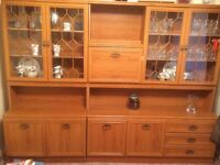 Wall unit display cabinet with glass doors & drinks cabinet