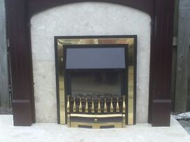 Electric Fireplace and marble/wood surround