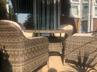 Rattan/leather garden/conservatory quality furniture