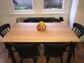 Pine farmhouse dining table