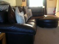 Brown leather corner piece suite