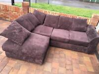Purpleish/maroon jumbo cord corner sofa