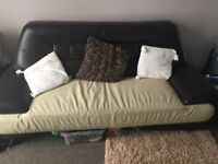 Large 3 seater sofa and armchair - brown/cream leather