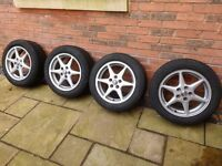 Alloy wheels with Uniroyal MS plus 66 tyres - 205/55R16 91H PCD 5x114.3 Toyota